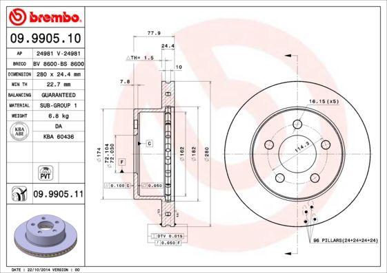 BREMBO Bremsscheibe Scheibenbremse Bremse für JEEP CHEROKEE + WRANGLER II 98-07