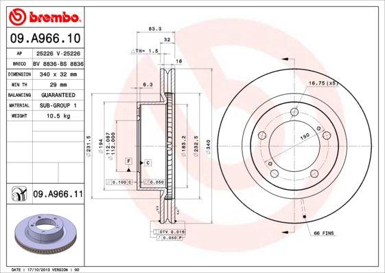 BREMBO Bremsscheibe Scheibenbremse Bremse für TOYOTA LAND CRUISER 200 J2 07->