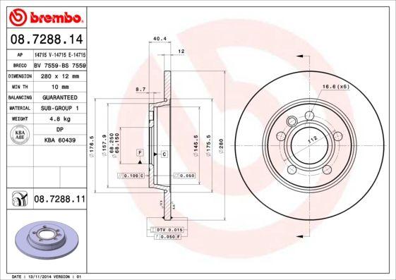 BREMBO Bremsscheibe Scheibenbremse Bremse für VW 95-03